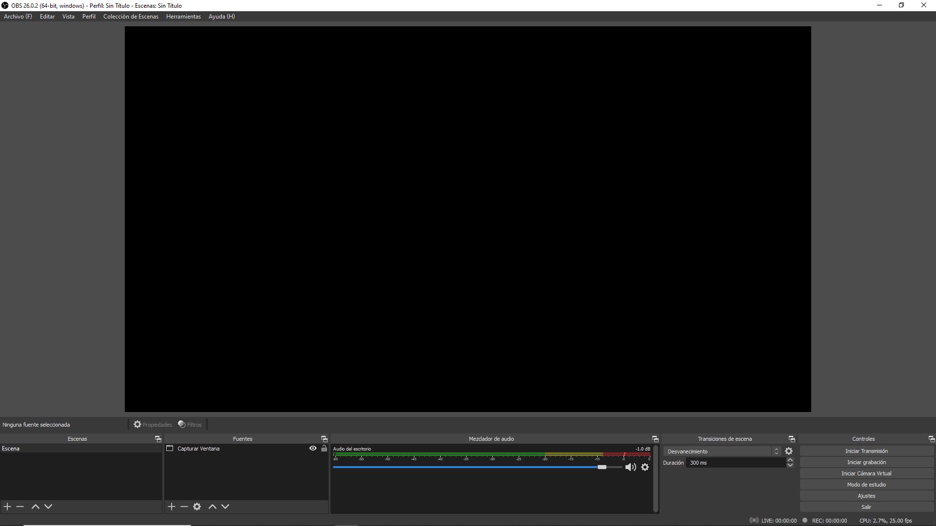 ¿Por qué OBS sólo me muestra una pantalla negra?
